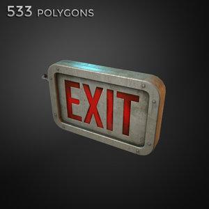 old exit sign 3d model