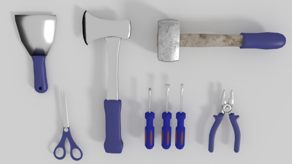 low-poly tools 3d model