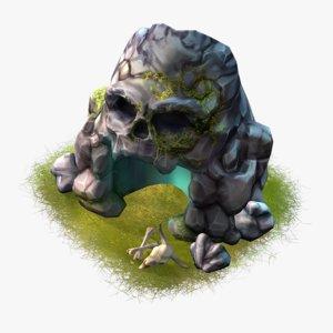 cartoon skull cave x