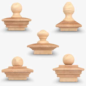 3d realistic nantucket finial set model