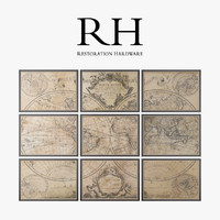 Restoration Hardware L'isle's 1720 World Map Frames