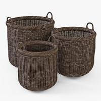 wicker basket brown color 3d model