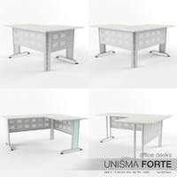 3d model of office desks unisma forte