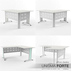 3d model of office desks unisma forte