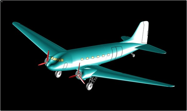 3d douglas c-47 transport aircraft