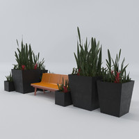 Architecture outdoor bench & plant