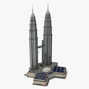 petronas towers 3d max