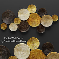 3d circles wall decor model