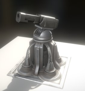 heavy gun tower animation 3d model