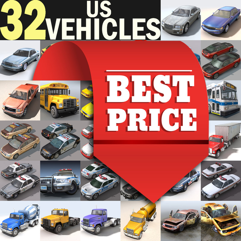 3d model cars vehicles 32 trucks