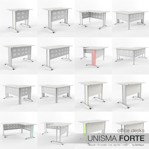 3d model office desks unisma forte