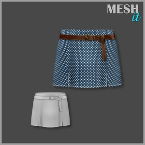 skirt blue white 3d model