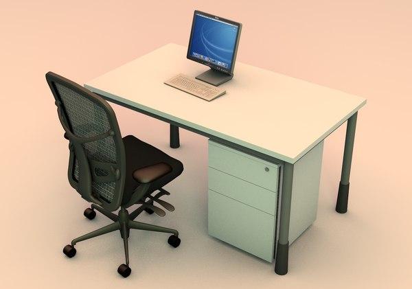office workstation 3d c4d