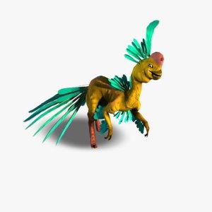 3d nomingia dinosaur colourful model