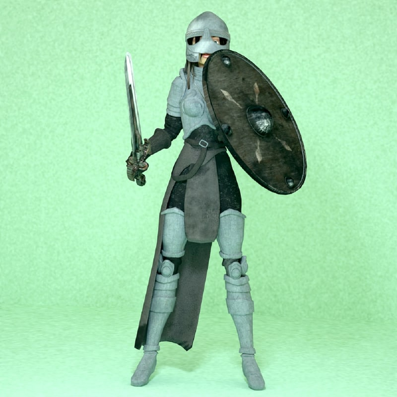 3d mediaval woman warrior model