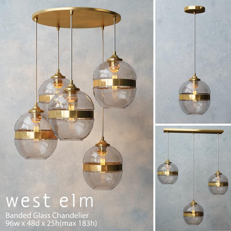 west elm banded glass 3d model