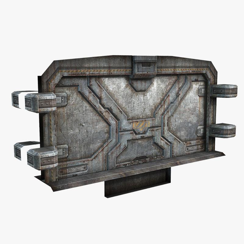 3d model of dirty sci-fi door