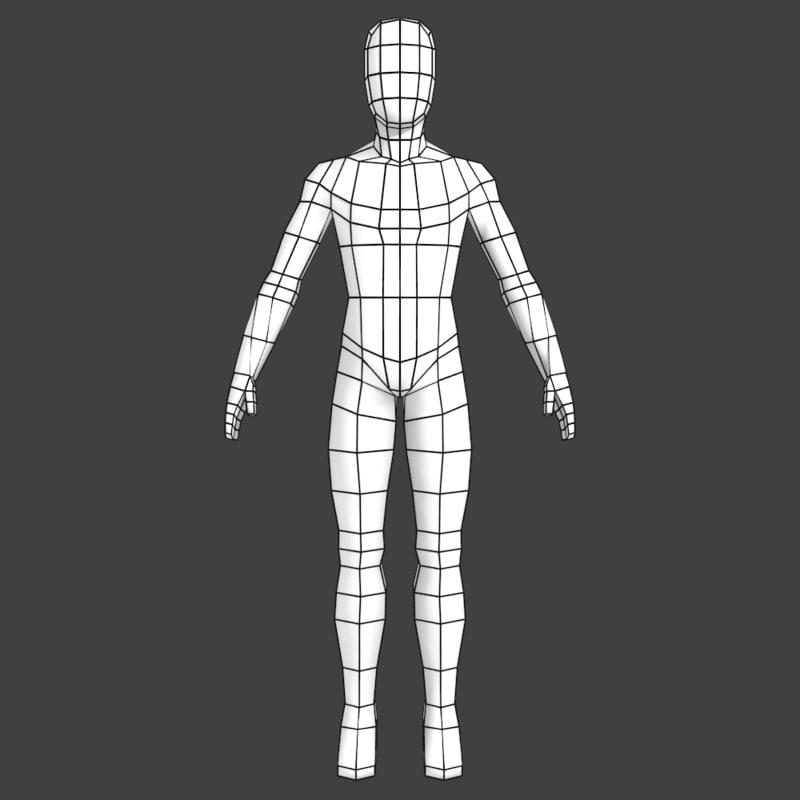simple low-poly base mesh obj