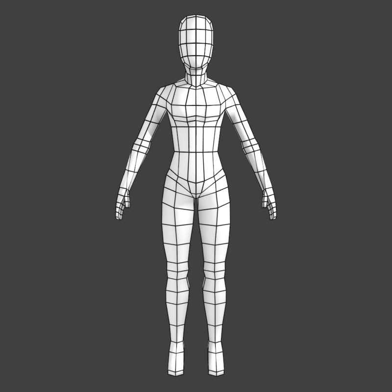 simple low-poly base mesh 3d model