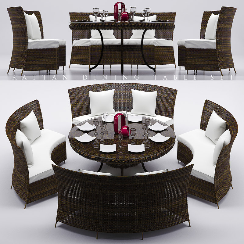 rattan dinning table set 3d max