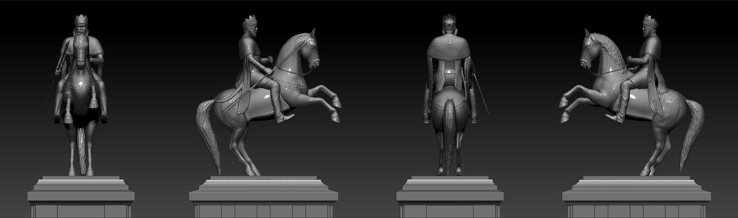 3d emperor menelik statue horse model
