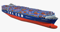 3d model container ship cma pegasus