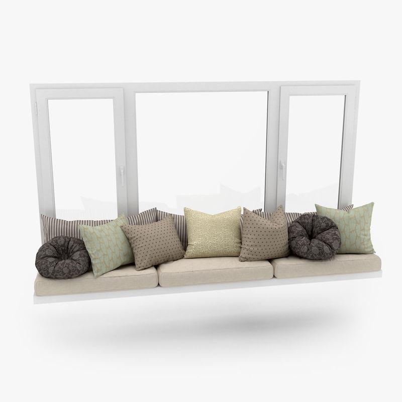 3d model of window seat