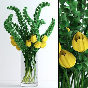 3d model of vase moluccella yellow tulips