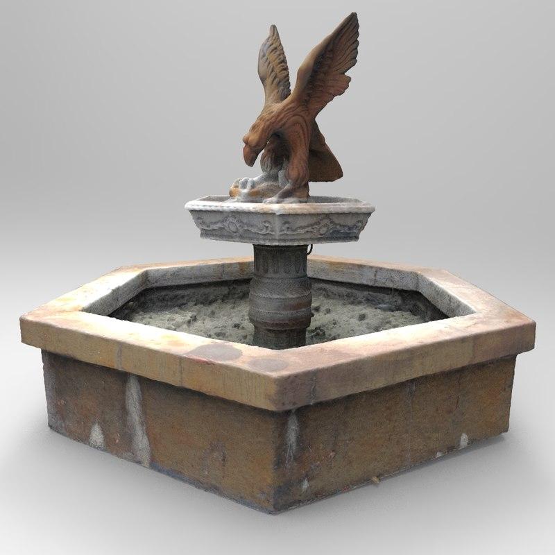pond statue water fountain obj