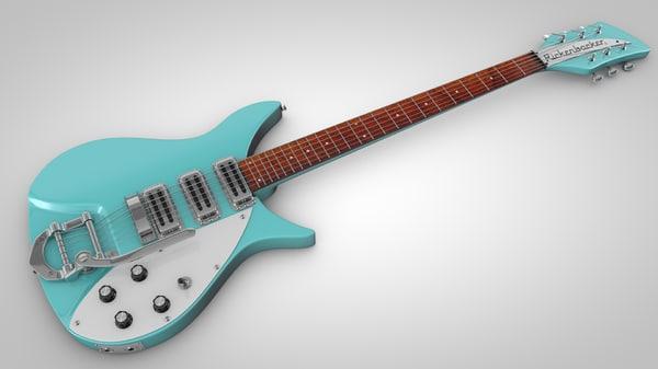 vintage electric guitar 3d c4d