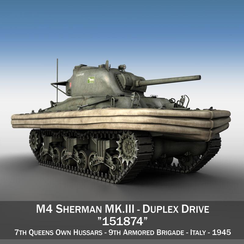 m4 sherman mk iii 3d model