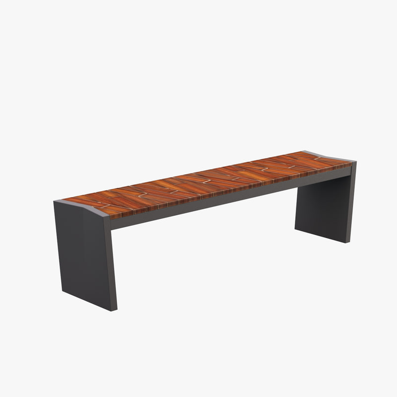 3d model outdoor boardwalk bench