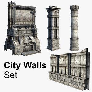 set city walls 3d model
