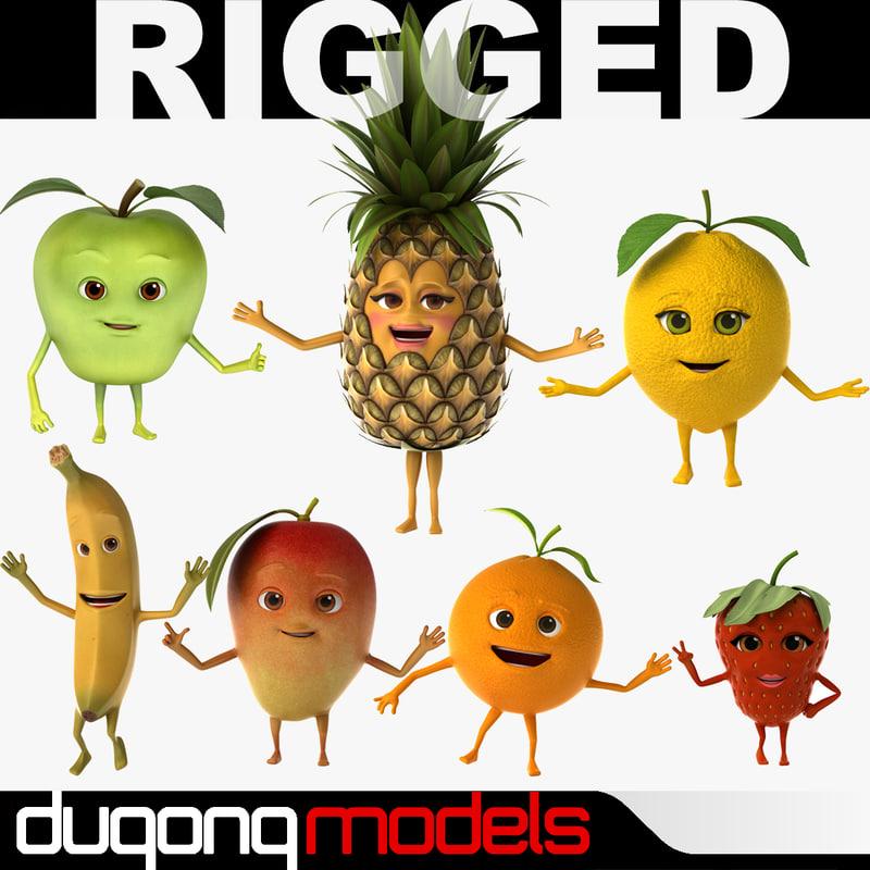 3d model of dugm07 fruits rigged cartoon