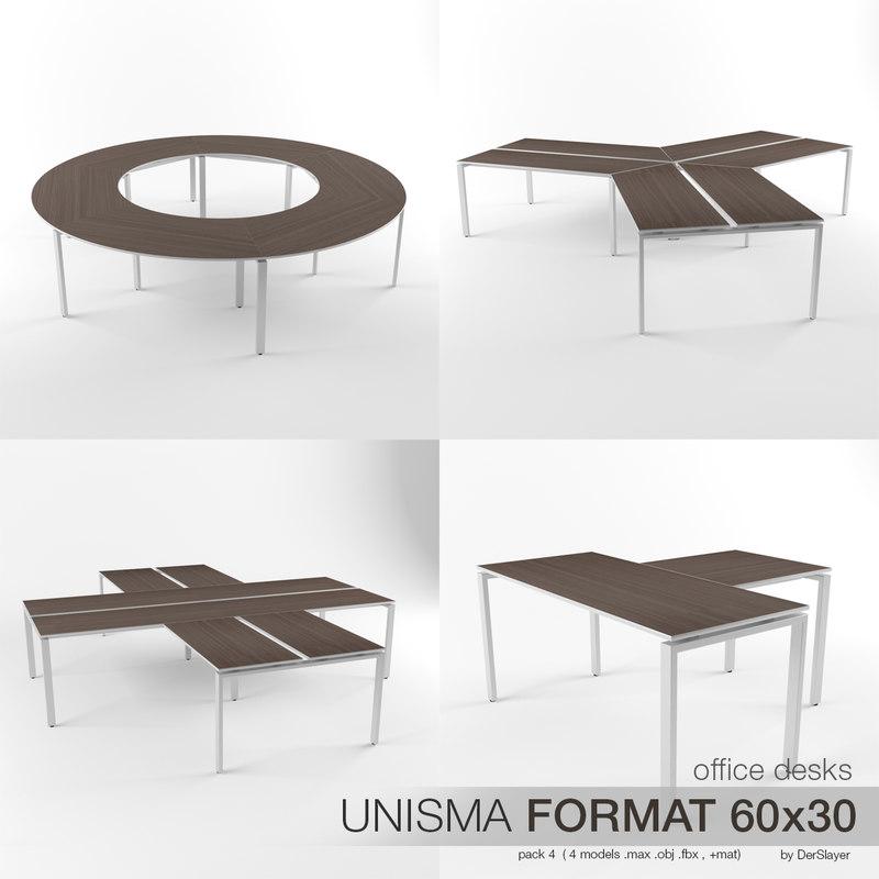 3d model office desks unisma 4