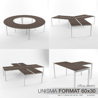 3d model office desks unisma 4