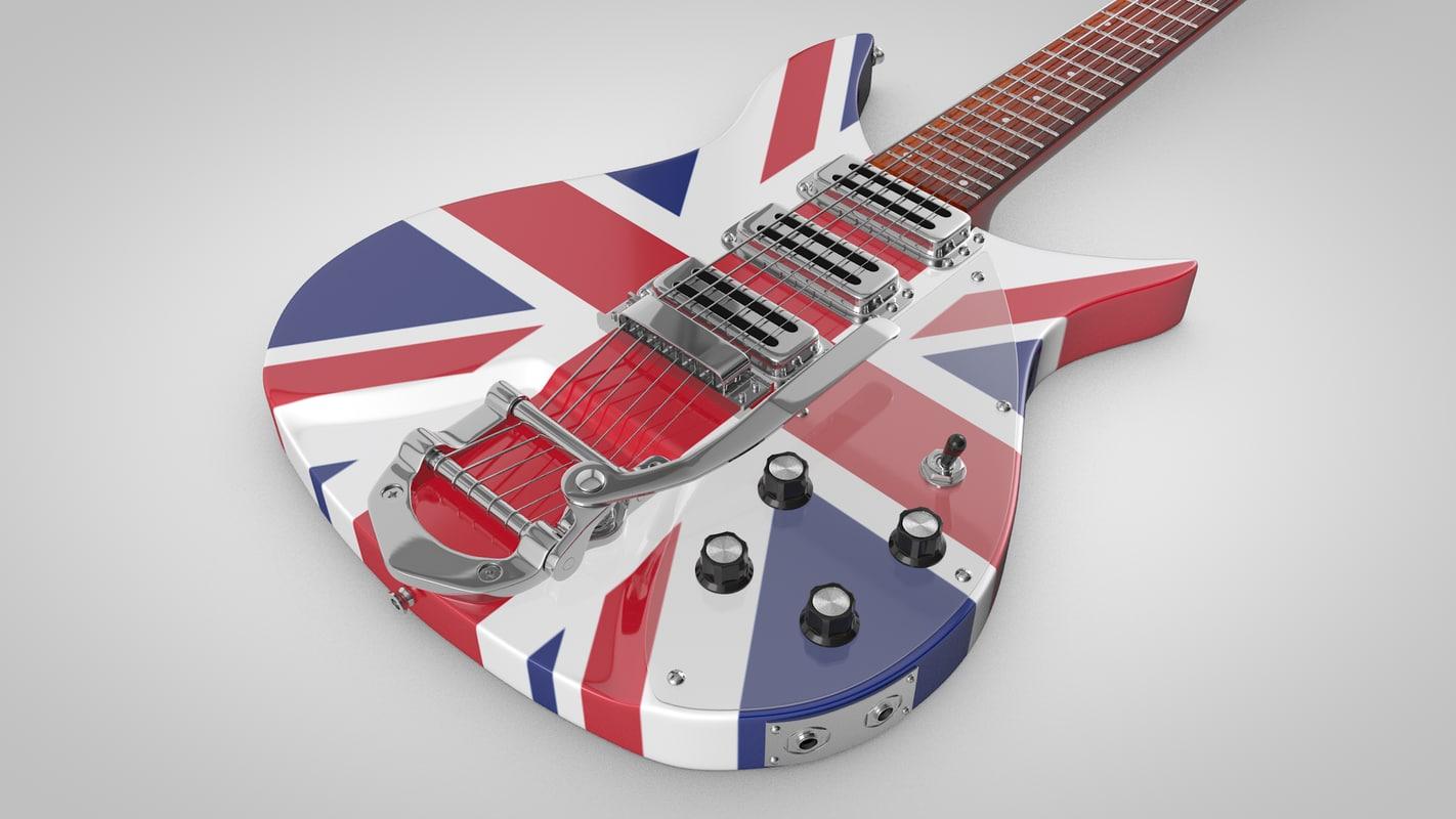 3d model of uk vintage guitar