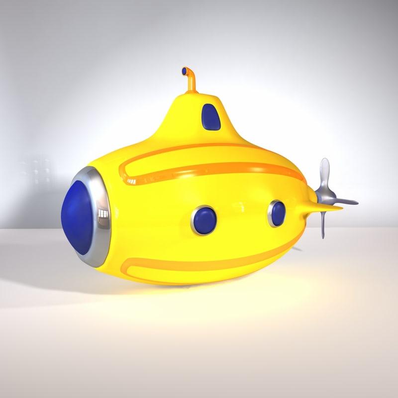 3d model toy submarine