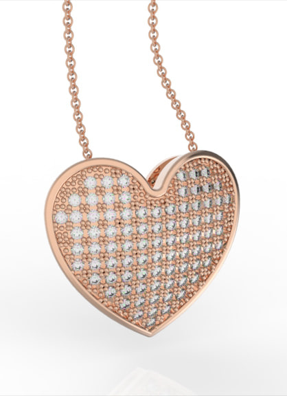 pendant diamonds heart obj