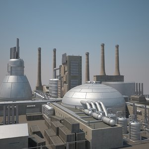futuristic factory 3d 3ds