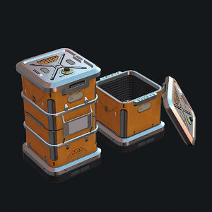 sci-fi metal crate 3d model