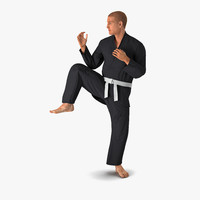 karate fighter pose 3 3d max