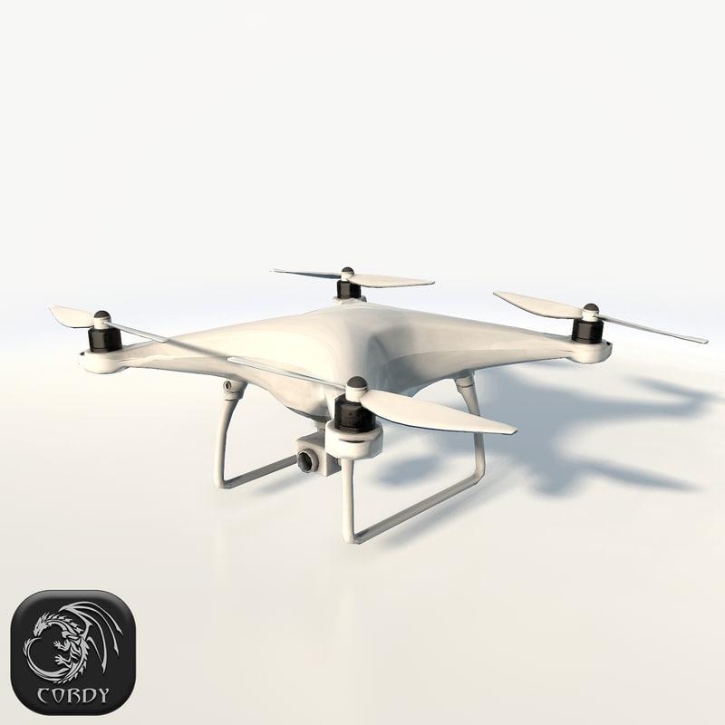 dji phantom 4 quadcopter 3d max