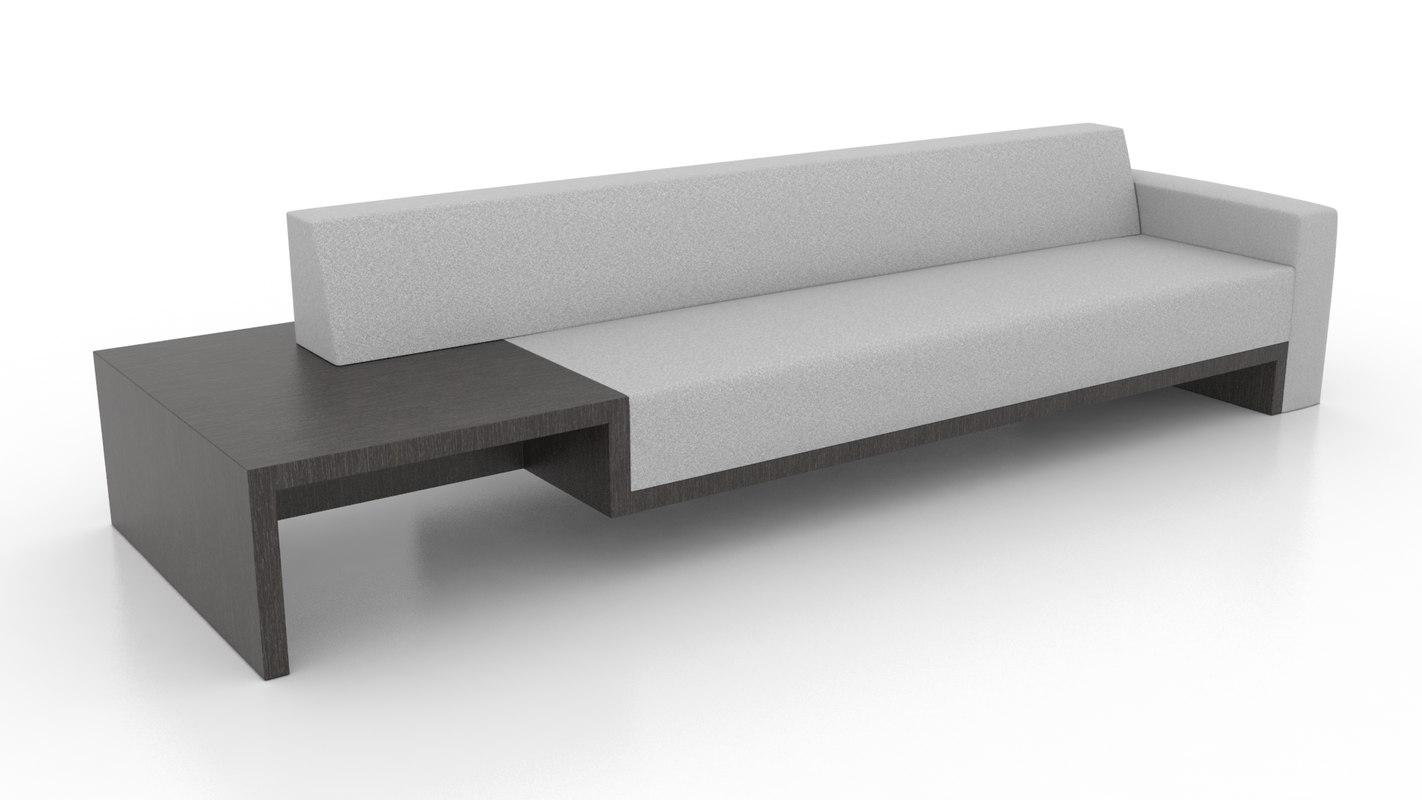 3d model upholstered sofa table