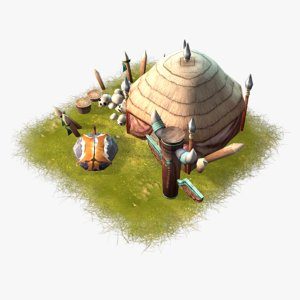 cartoon shaman hut 3d max