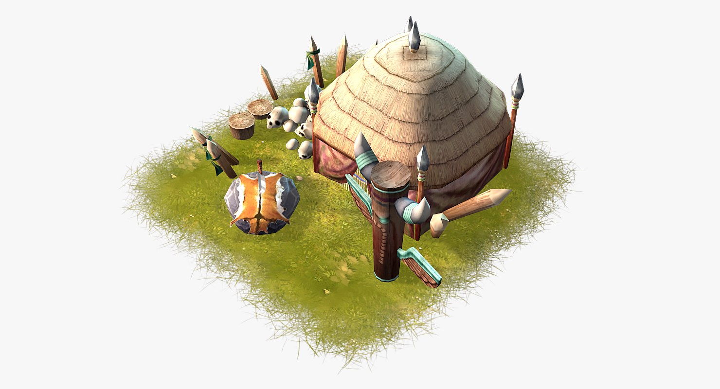 cartoon shaman hut 3d max