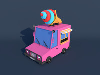 Low Poly Ice Cream Car