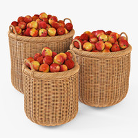 Wicker Basket 07 (Toasted Oat Color) with Apples