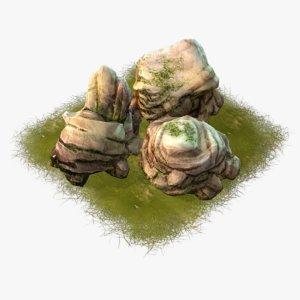 3d model cartoon stones