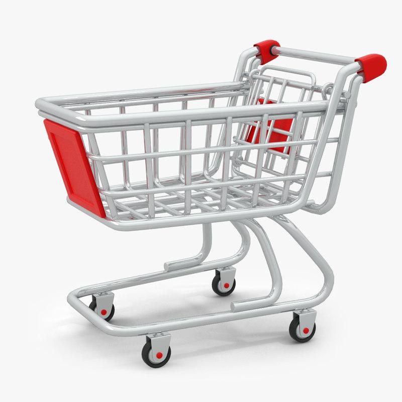 3d model cartoon shopping cart